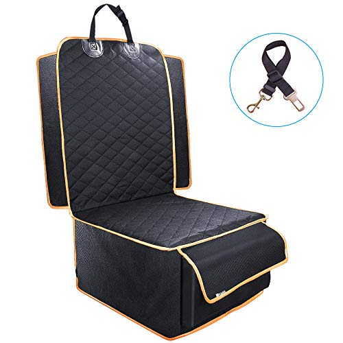 - Dog Front Seat Cover, Waterproof Scratchproof Dog Seat Cover with Storage Bag Extra Wide Side Flaps, Nonslip Quilted Durable Pad for Cars Trucks and SUVs