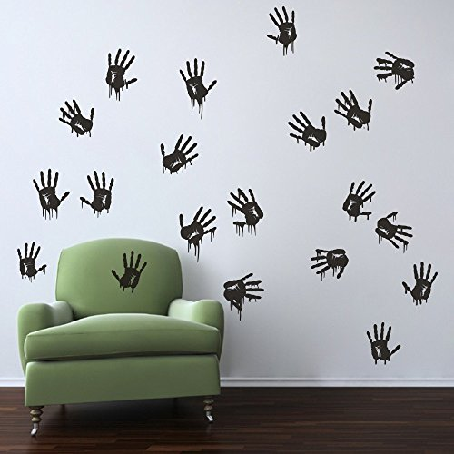 Bloody Hand Prints Wall Decal Creepy Wall Sticker Vinyl Palm Wall Decor Wall Graphic Home Art Decoration Black -