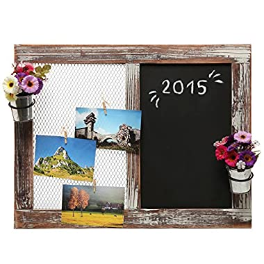 Wall Mounted Country Chicken Wire Memo / Message Display Board & Rustic Wood Framed Chalkboard - MyGift®