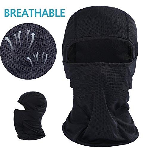 Balaclava Black Face Mask - Windproof & Dust Protection Motorcycle Cycling Riding Headwear Lycra Fabrics Breathable Ski Mask (BE-Black)