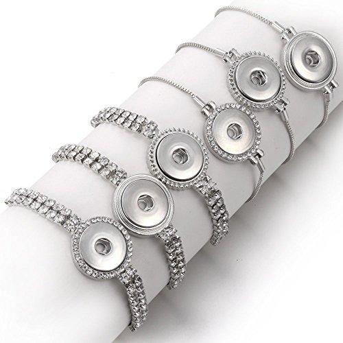 Lovglisten 6pcs New Snap Button Bracelet Bangles 6 Designs Crystal Button Chain Bracelet for Men Women Adjustable Snap Bracelet