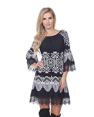 (White Mark Alta French Lace Hem Dasmask Dress in Black & White - Large)