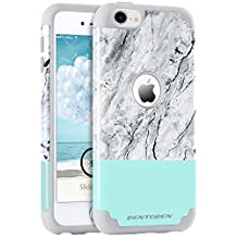 iPod 6 Case, iPod 5 Case, BENTOBEN 2 in 1 Slim iPod Touch 5 Cases [White Black Marble Pattern Design] Hybrid Silicone Bumper Hard PC Back Cover Drop Proof Anti-slip Scratch Resistant Protective Case for iPod Touch 5th 6th Generation – Mint Green/Gray