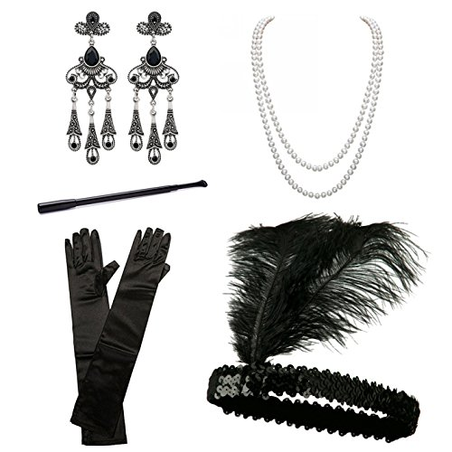 [1920s Accessories Set Flapper Costume for Women iLoveCos Roaring 20's Accessories Headband Earings Pearls Necklace Gloves Cigarette Holder] (The Great Gatsby Costumes To)