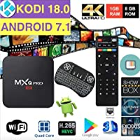 LHHY MXQ Pro HDTV Box Full HD 1080P up to 4K Android 7.1 64 Bit Amlogic S905W Quad Core 1G/8G HDMI WiFi Internet Browser/Games/Apps Google Play with Mini Wireless Keyboard