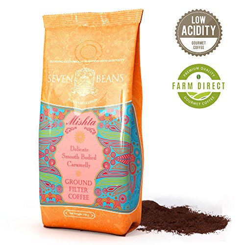 'Mishta' Ground Coffee - Medium Roast - Low Acidic - Single Origin - Indian Gourmet AA Monsooned Malabar Speciality Espresso Blend by Seven Beans Coffee Company (8.82 Oz)