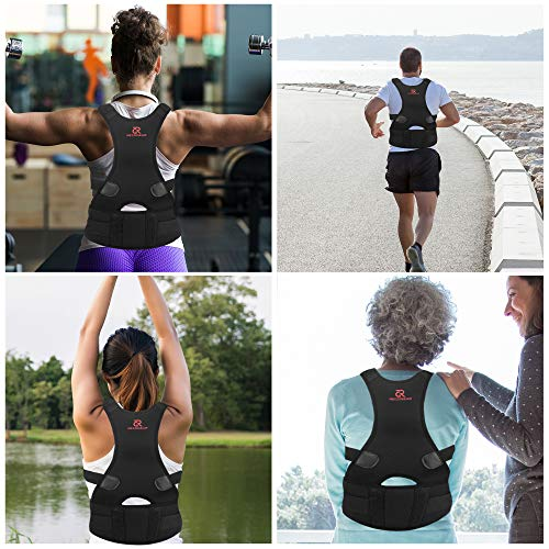 """RECOGEAR Posture Corrector for Women and Men - Adjustable Back Brace for Back Pain and Neck Pain Relief - Provides Lumbar & Back Support - Shoulder and Lower Clavicle - Black (XL) 38.6""""- 42.5"""""""