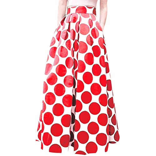 (Fashion Party Cocktail Summer Womens Dot Printed Skirt High Waist Long Skirt Red)