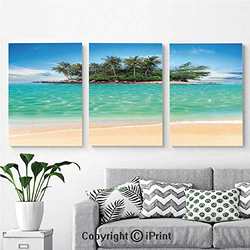 (Wall Art Decor 3 Pcs High Definition Printing Tropical Island Sandy Seaside Clear Water Honeymoon Destination Waterscape Painting Home Decoration Living Room Bedroom Background,16