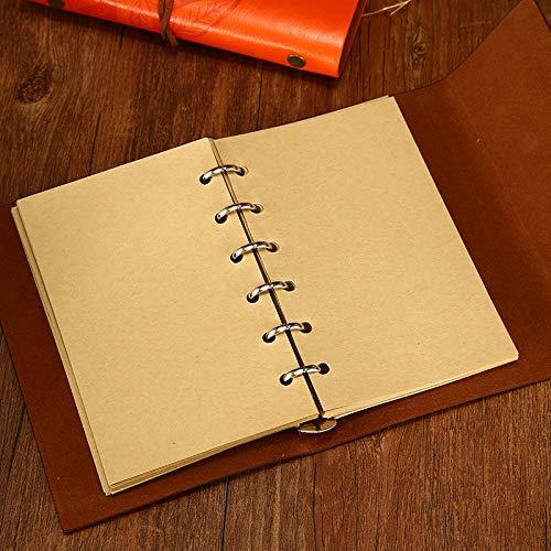 NectaRoy Retro Vintage Ubierta de Cuero de la PU Cuaderno Agenda Bloc Libro Cuaderno en Blanco Revista de Notas Patrón de Hojas Revista Diario Timón ...