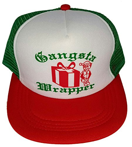 (Gangsta Wrapper Elf Mesh Trucker Hat Cap Snapback Ugly Sweater Party Christmas X)