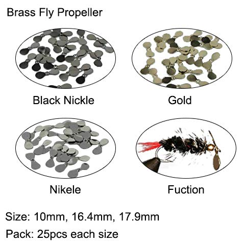 (Aventik 75pcs Brass Fly Propeller, Well Balanced, Three Sizes, Three Fish Men Approved Finishes; Bass Bugs, Baitfish, Spinner Flies, Fresh Water & Salt Water (Gold (10mm,14.6mm and 17.9mm)))