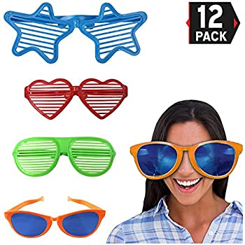 49c7f4501e6 Liberty Imports Jumbo Sunglasses Novelty Plastic Photo Booth Glasses Fun  Shutter Shades for Costumes Cosplay Props Party Supplies Variety (Pack of  12)