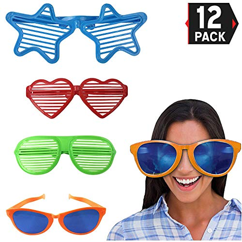 Liberty Imports Jumbo Sunglasses Novelty Plastic Photo Booth Glasses Fun Shutter Shades for Costumes Cosplay Props Party Supplies Variety (Pack of 12) -