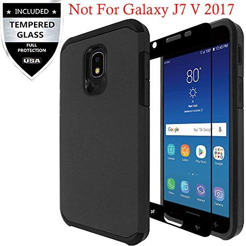 Samsung Galaxy J7 2018/Galaxy J7 Refine/J7 Star/J7 TOP/J7 V 2nd Gen 2018/J7 Aero/J7 Aura/J7 Crown Case With Tempered Glass Screen Protector,IDEA LINE Hybrid Hard Shockproof Slim Fit Cover - - Case Protector Top
