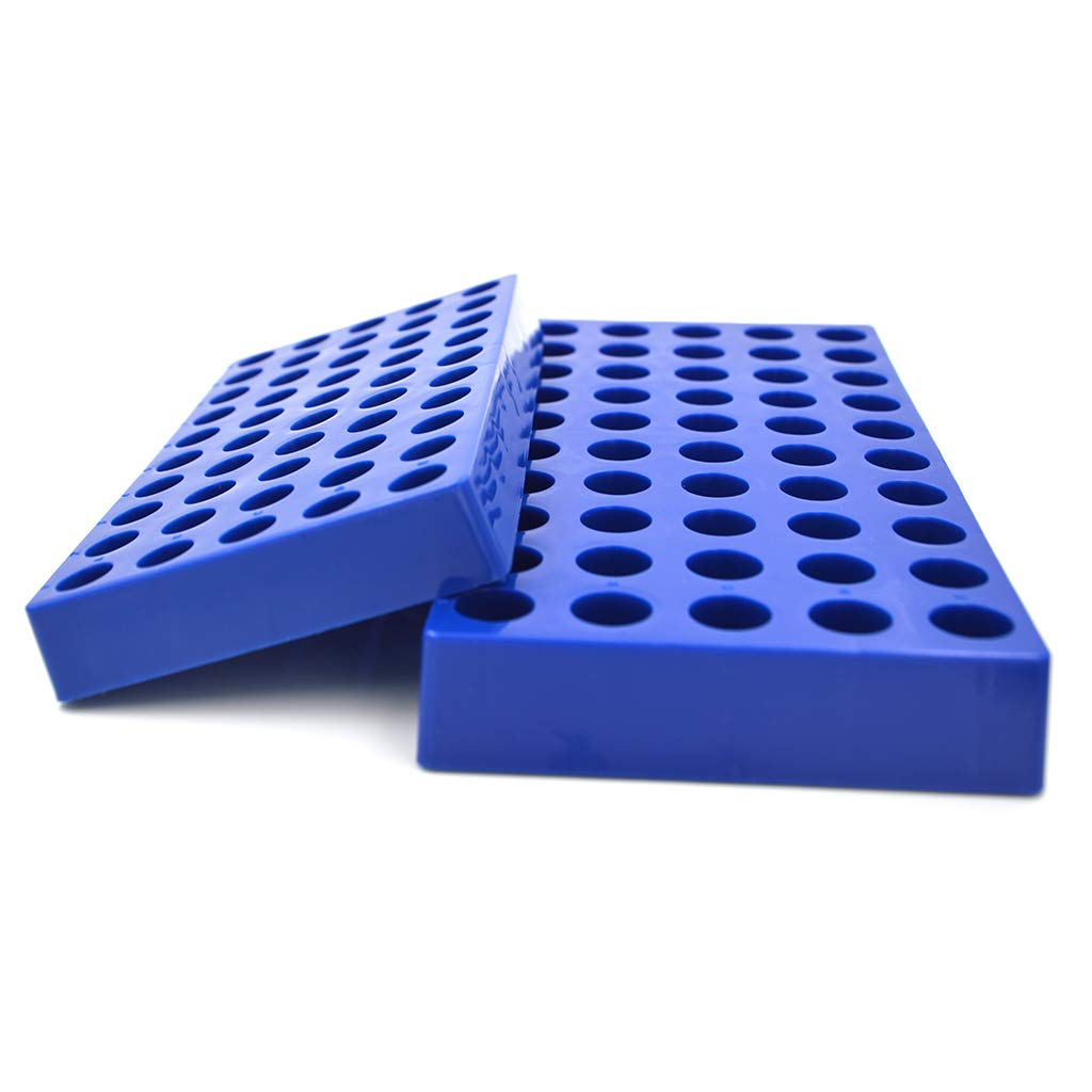 Tisch Scientific Vial Racks for 4mL Vials | 5 Pack | Blue Polypropylene | 9'' x 4.5'' x 1'' | 50 Holes | Hole Diameter: 15mm | Autoclavable | CV2056 by Tisch Scientific