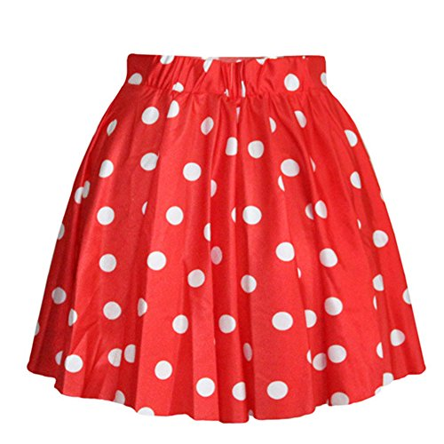 AvaCostume Women's High Waisted Candy Colors Polka Dot Skirt, Red,One Size -