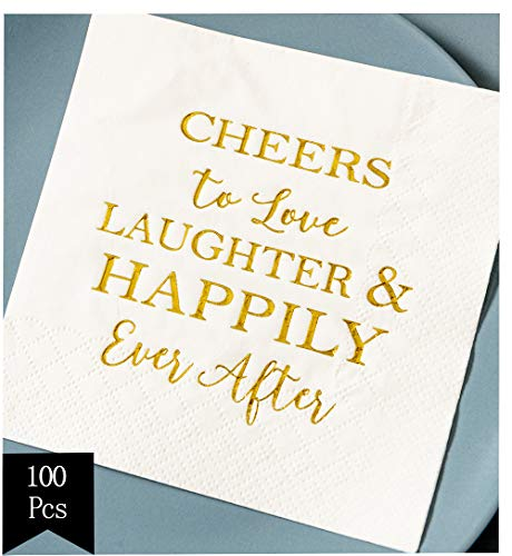 Crisky Bridal Shower Napkins Disposable Cocktail Napkins 3-Ply Gold Foil Text Beverage Napkins for Engagement Party Decorations & Wedding (Love Beverage Napkins)