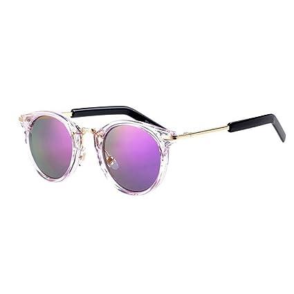 3a40578557 QZ HOME Gafas De Sol Espejo Vintage Estilo Harajuku De Moda Playa  Protección UV (Color