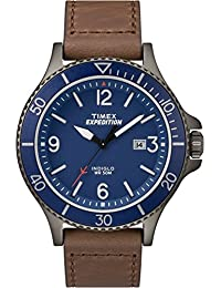 Timex Men's Casual Expedition Ranger TW4B10700GP Blue Dial and Brown Leather Band Watch
