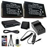 Two Canon EOS M 18 MP CMOS Mirrorless Digital SLR Camera LP-E12 Lithium Ion Replacement Battery + External Rapid Charger + Memory Card Wallet + Deluxe Starter Kit Bundle DavisMAX EOS M Accessory Kit