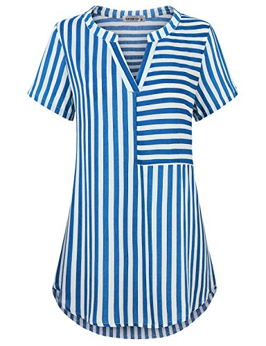 (MOQIVGI Chiffon Top, Woman Chic Vertical Stripe Professional Work Shirt Easy Fit Formal Career Blouse Stylish Short Sleeve Split V Neck Sleeky Patchwork Tunic Tees Blue Large)