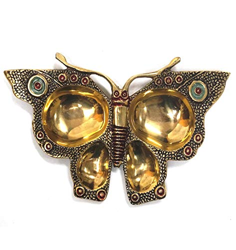 Solid Brass Hand Crafted Butterfly Trivet Tray, 4