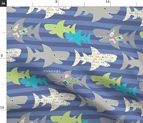 (Spoonflower Sharks Fabric - Ocean Animal Kids Sharks Animals Ocean Beach Nautical Kids Fun Music Print on Fabric by The Yard - Fleece for Sewing Blankets Loungewear and No-Sew Projects )
