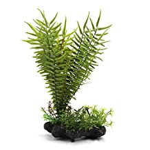 uxcell® Green Plastic Terrarium Tank Plants Decorative Ornament for Reptiles w/ Stand