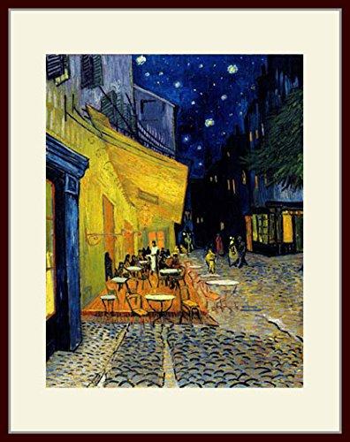 ゴッホ「夜のカフェテラス」 プリキャンバス複製画 額付き(デッサン額/大衣サイズ) B00PFZ1GLW
