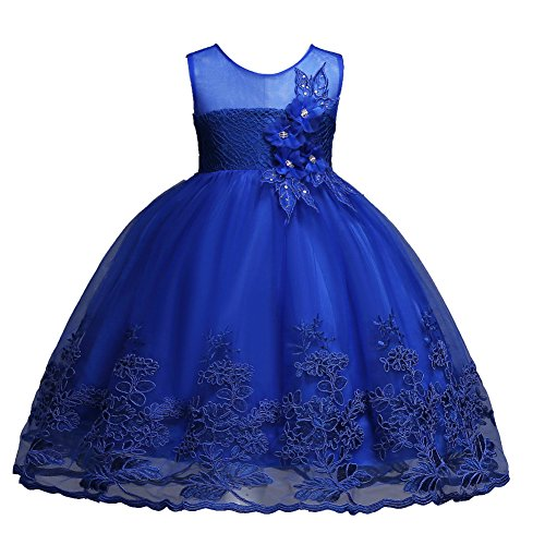 Flower Girl for 10-12 Years Sleeveless Sundress Size 7-16 Big Girls Kids Children Lace Tulle Tutu Sash Ball Gowns Special Occasion Tops Dresses Size 12 Under 25 Casual Formal Proms (Sapphire, 150)