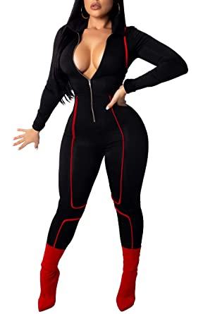 bf949beba23d YIQ8 Women s Sexy Deep V Neck Zipper Front Jumpsuit Casual Long Sleeve Slim  Fit Romper Stretchy