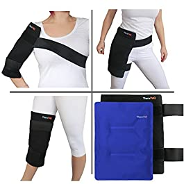 Large Reusable Gel Ice Pack with Wrap by TheraPAQ – Hot & Cold Therapy for Hip, Shoulder, Back, Knee – Pain Relief for Injuries, Recovery, Swelling, Aches, Bruises & Sprains (XL Blue Pack: 14″ X 11″)
