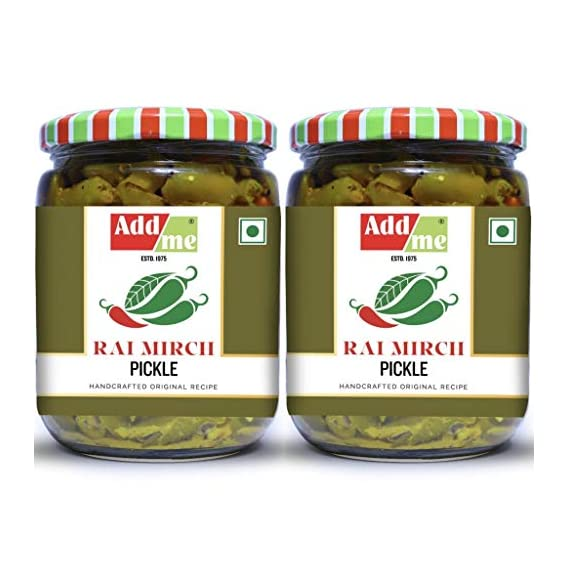 Add me Green Chilli Pickles 1kg Hari Mirch ka Achar 500gm + 500gm Pickle Glass jar
