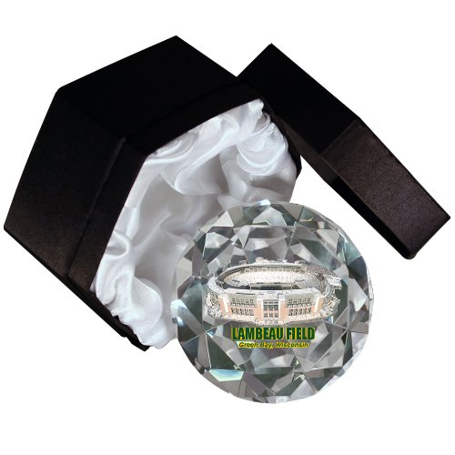 Sports Collector's Guild NFL Green Bay Packers Lambeau Field on a 4-Inch High Brillance Diamond Cut Crystal Paperweight