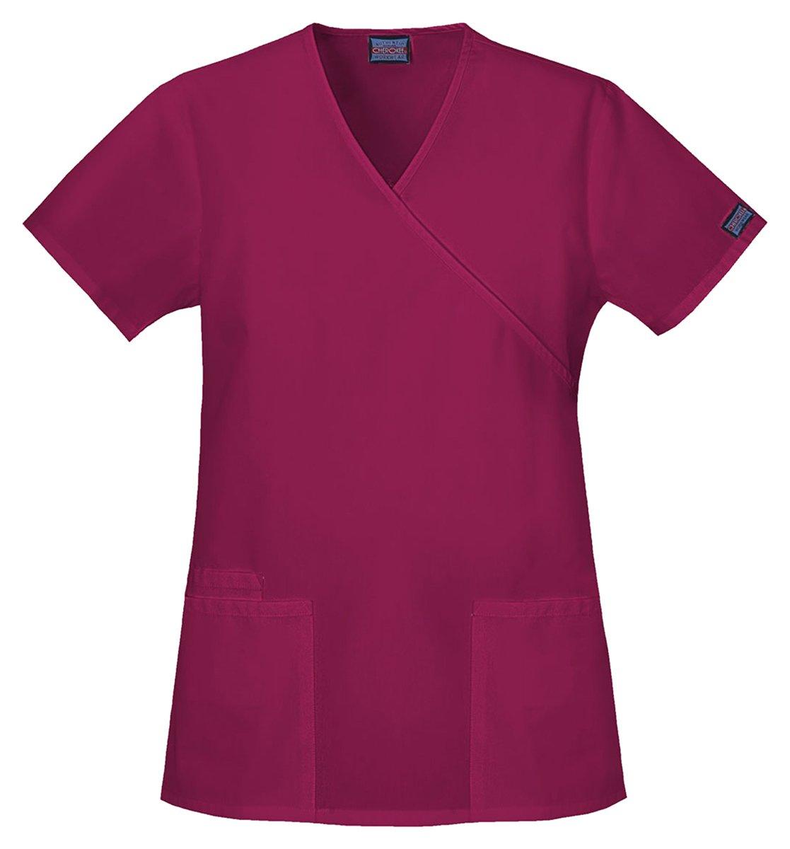 Cherokee Workwear Women's Mock Wrap Side Slits Shirt_Wine_Large,4801