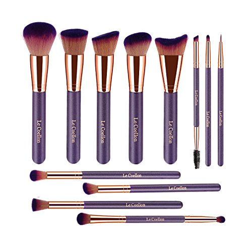 Kabuki Brush Case - Le Coellon Makeup Brushes Set, 12PCS Premium Synthetic Face Foundation Powder Blending Blush Concealers Eyeshadow Eyebrow Eyeliner Lip Brush Kabuki Brushes Set with Carrying Case Purple