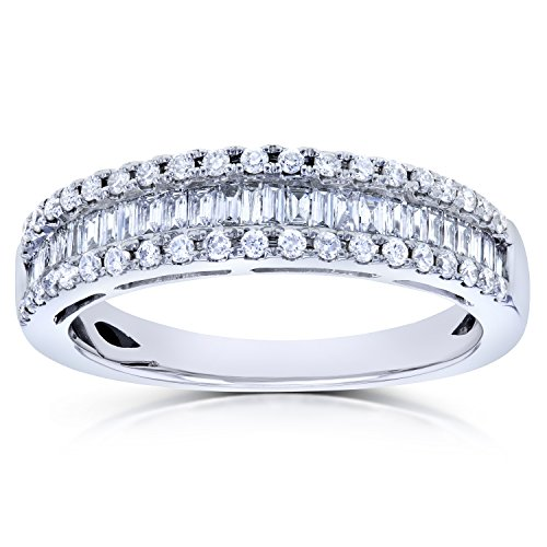 Baguette and Round Diamond Wedding Ring 1/2 CTW in 14K White Gold, Size 9, White Gold