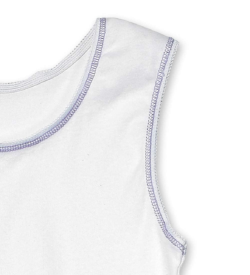 Buyless Fashion Maglietta Intima Morbida da Ragazza 100/% Cotone Bianca Scollo Rotondo Confezione da 4