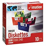 IMN41483 - 3-1/2 Disks,PC Format,1.44MB,w/Plastic Case,10/PK,Neon Clr.