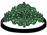 Vijiv Black Silver Art Deco 1920s Flapper Headband Headpiece, one size, green