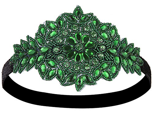 Vijiv Black Silver Art Deco 1920S Flapper Headband Headpiece  One Size  Green