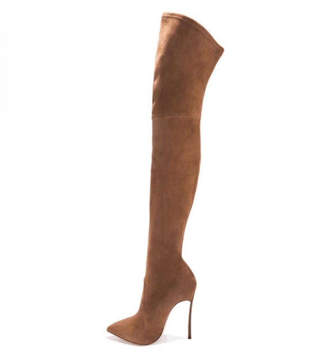 XDGG Frauen Art große und Weise neue Damen 35-43 große Art Größe spitzte high-heeled Knie-Länge Aufladungen  braun  40 103455