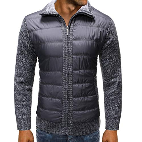 GREFER Outwear Mens Winter Warm Jackets - Casual Patchwork Full Zipper Sweater Jacket - Plus Size Coats with Pockets Dark Gray