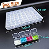 56 Grids Diamond Painting Storage Organizer Plastic 5D Diamond Embroidery Box with 4pcs Label Stickers for Sewing, Nail Diamonds, Diamond Painting Accessories