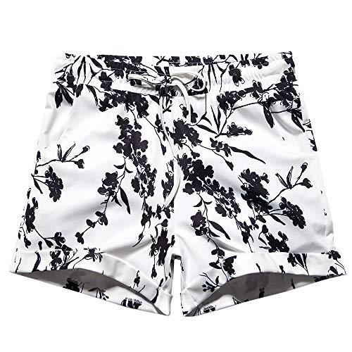 Women's Drawstring Elastic Waist Casual Comfy Cotton Linen Beach Shorts Black Floral Size 5XL