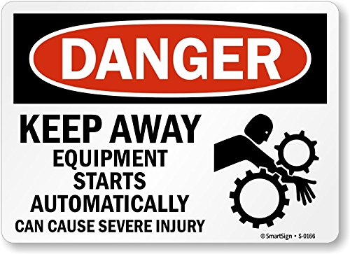 (SmartSign Danger: Equipment Starts Automatically with Graphic, Aluminum Sign, 10