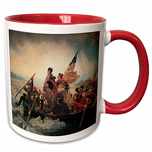 3dRose BLN American Art Fine Art Collection - Washington Crossing the Delaware by Emanuel Leutze Amrican Art - 15oz Two-Tone Red Mug (American Crossing Home Office Desk)