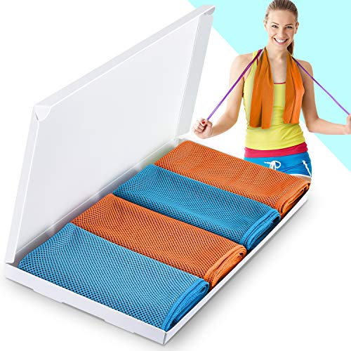 Vancle Cooling Towels, Cooling Towel for Instant Cooling Relief in Hot Environment, Ice Towels Stay Cool for Sports and Fitness (Orange & Blue & Orange & Blue, 40 x 12 inch)