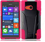 Nokia Lumia 735 Case, Microsoft Lumia 735 Case [Storm Buy] Premium Durable Hard&Soft Rugged Shell Hybrid Protective Phone Case Cover with Built in Kickstand (Pink)